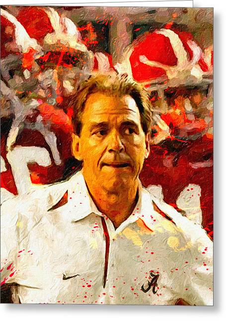 Nick Saban Greeting Cards - Nick Saban Roll Tide Two Greeting Card by John Farr