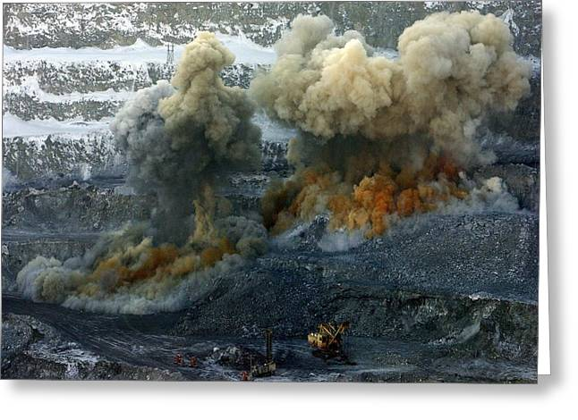 Russian Born Greeting Cards - Nickel Quarry Explosions Greeting Card by Ria Novosti