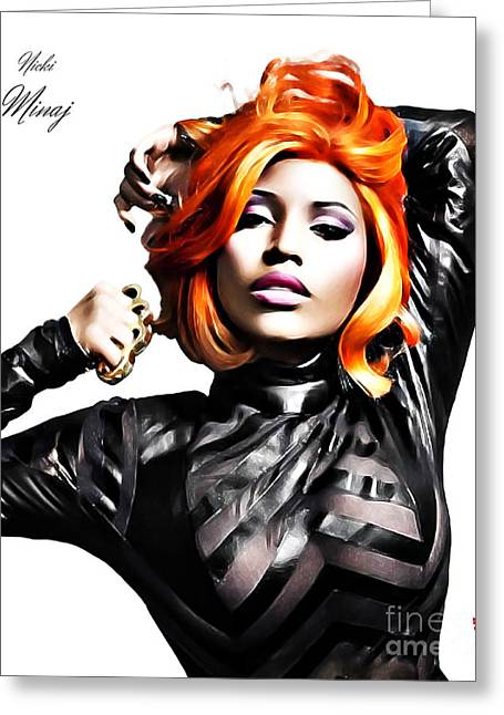 Digital Art Mixed Media Greeting Cards - Nicki Minaj Greeting Card by The DigArtisT