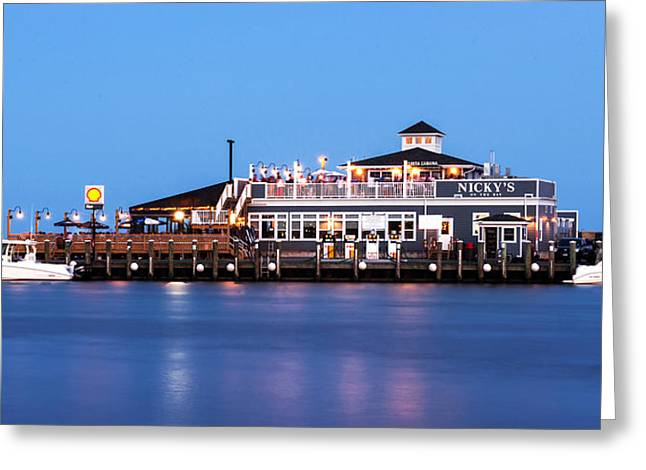 Docked Boats Greeting Cards - Nickys on the Bay - 10x20 Greeting Card by Vicki Jauron
