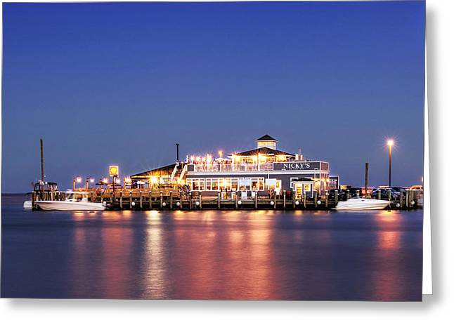 Docked Boats Greeting Cards - Nickys on the Bay - 11x14 Greeting Card by Vicki Jauron