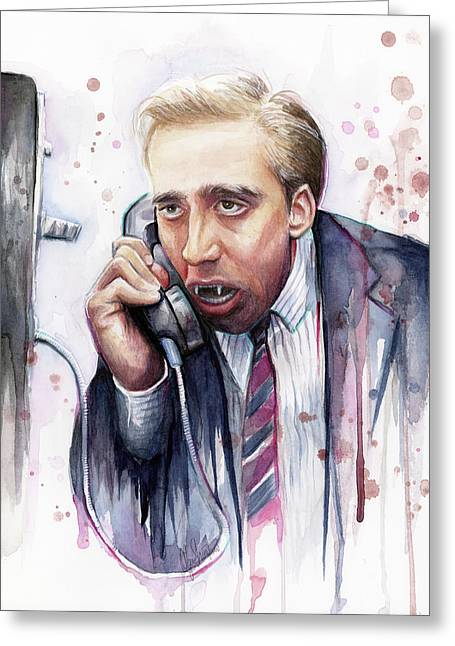 Celebrity Mixed Media Greeting Cards - Nicolas Cage A Vampires Kiss Watercolor Art Greeting Card by Olga Shvartsur