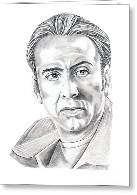 Cage Greeting Cards - Nicolas Cage Greeting Card by Murphy Elliott
