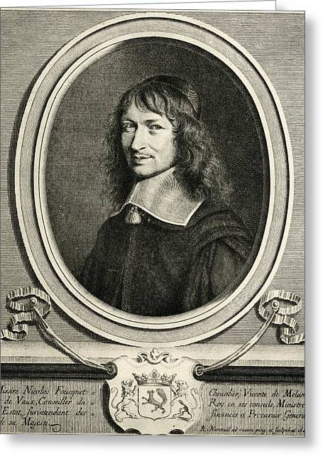 Chevalier Drawings Greeting Cards - Nicolas Fouquet,1615-1680. Chevalier Greeting Card by Ken Welsh
