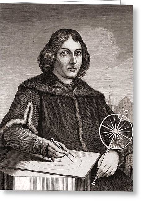 Nicholas Drawings Greeting Cards - Nicolaus Copernicus Greeting Card by American School