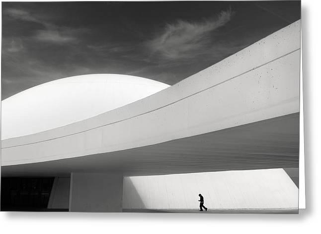 Monochrome Greeting Cards - Niemeyer Center Aviles Greeting Card by Ramon Vaquero