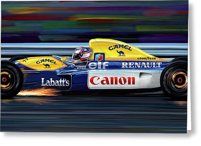 Indy Car Greeting Cards - Nigel Mansell Williams FW14B Greeting Card by David Kyte