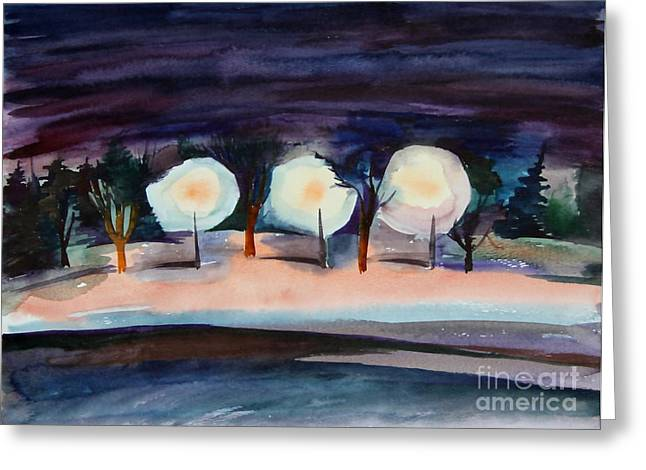 Anna Duyunova Greeting Cards - Night Alley of Midnapore Greeting Card by Anna  Duyunova