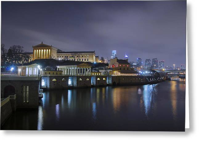Bill Cannon Photography Greeting Cards - Night at Fairmount Waterworks and  Art Museum Greeting Card by Bill Cannon