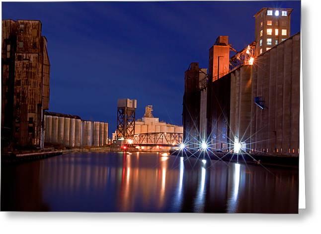 Grain Mill Greeting Cards - Night At Ohio Street Bridge Greeting Card by Don Nieman