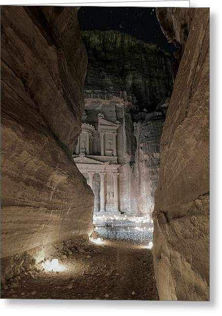 Caves Greeting Cards - Night at Petra Greeting Card by Stephen Stookey