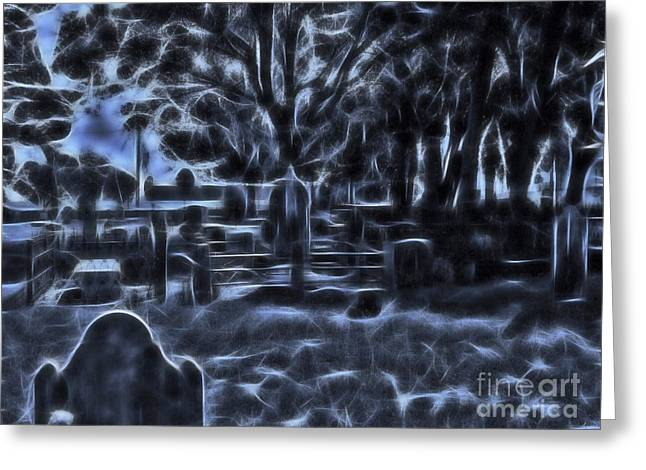 Creepy Digital Greeting Cards - Night At The Cemetery Greeting Card by D Hackett