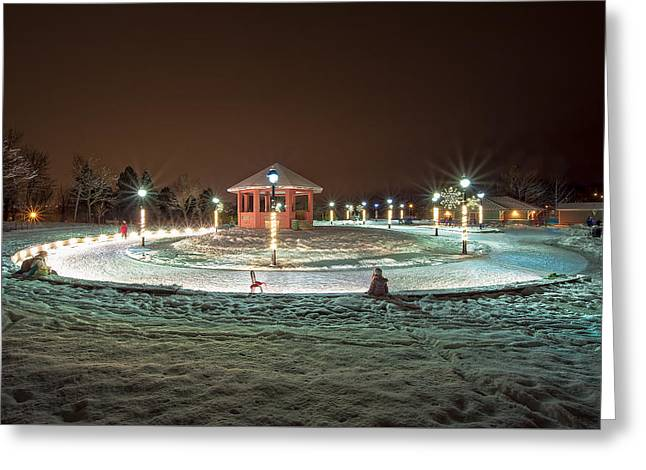 Ice-skating Greeting Cards - Night at The Loop Bannerman Park Greeting Card by Gord Follett