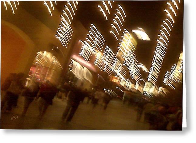 Night Lamp Greeting Cards - Night At The Mall Greeting Card by Ben and Raisa Gertsberg