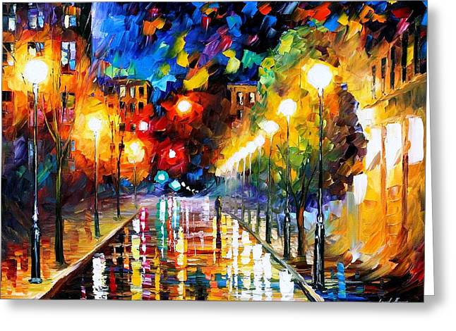Recently Sold -  - Popular Art Greeting Cards - Night Boulevard - PALETTE KNIFE Oil Painting On Canvas By Leonid Afremov Greeting Card by Leonid Afremov