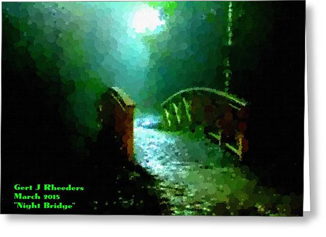 Jewelry Pastels Greeting Cards - Night Bridge H a Greeting Card by Gert J Rheeders