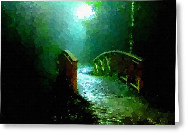Abstract Digital Pastels Greeting Cards - Night Bridge H b Greeting Card by Gert J Rheeders