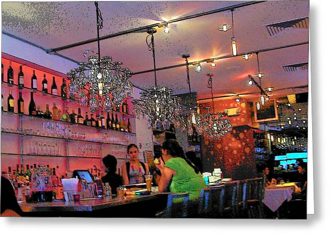 Cafe City Lights Greeting Cards - Night Cafe New York Greeting Card by Vijay Sharon Govender