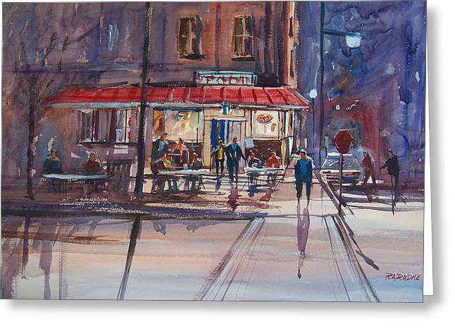Street Scenes Greeting Cards - Night Cafe Greeting Card by Ryan Radke