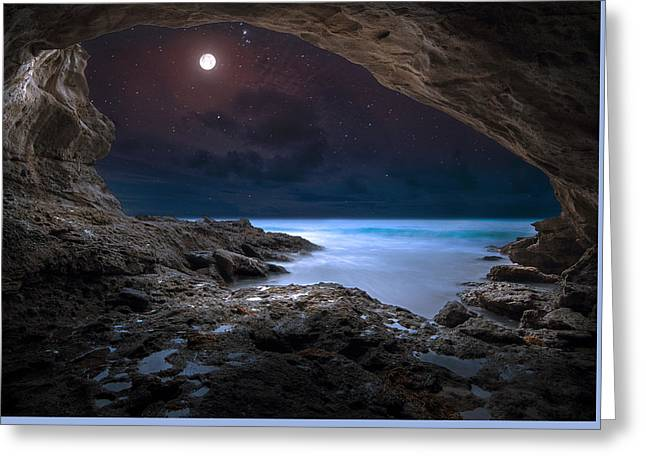 Caves Greeting Cards - Night Cave Greeting Card by Sami Matar