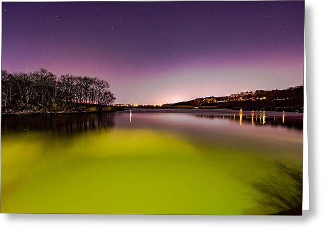 Boston Ma Greeting Cards - Night colors on the River Greeting Card by Brian MacLean