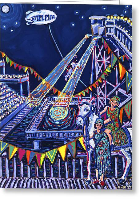 Steel Pier Greeting Cards - Night Divers Greeting Card by Christie Mealo