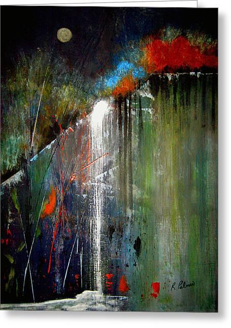 Abstract Waterfall Greeting Cards - Night Falls Greeting Card by Ruth Palmer