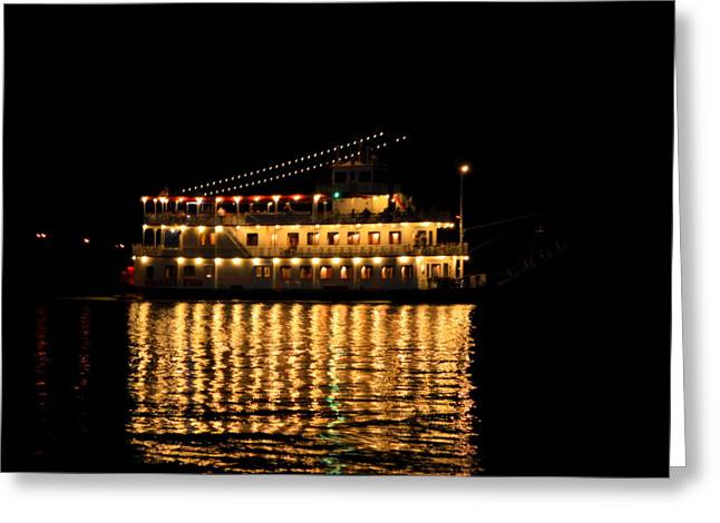 Blue Green Water Greeting Cards - Night Ferry Greeting Card by Linda Covino