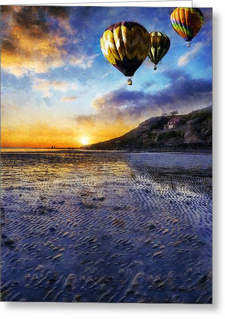 Hot Air Balloon Ride Greeting Cards - Night Flight Greeting Card by Ian Mitchell