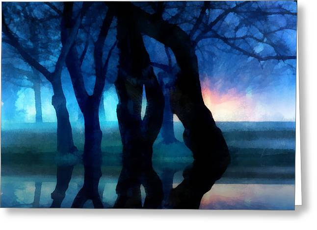 Night Fog In A City Park Greeting Card by Francesa Miller