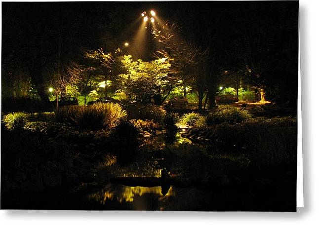 Night Garden Greeting Card by Art Nomad Sandra  Hansen