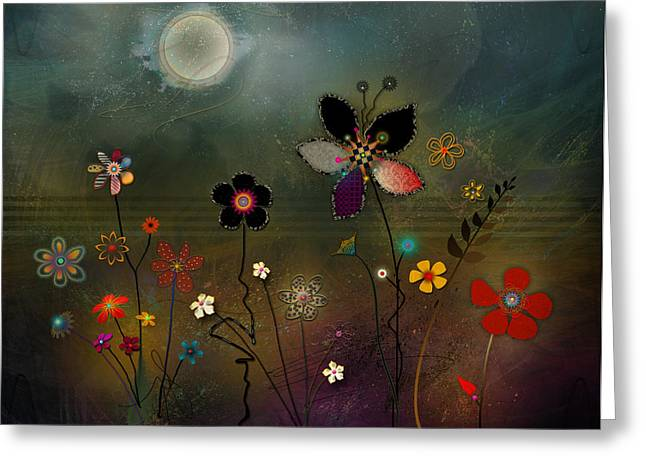 Moon Digital Art Greeting Cards - Night Garden Greeting Card by Bernie  Lee