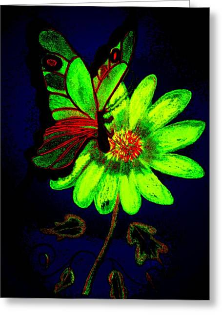 Floral Digital Drawings Greeting Cards - Night Glow Greeting Card by Maria Urso