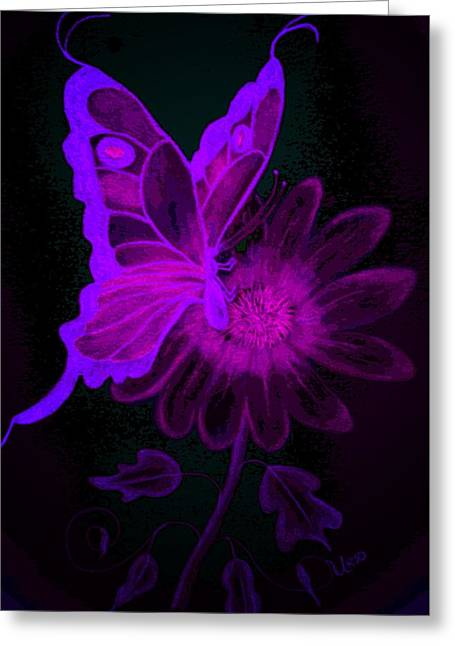 Floral Digital Drawings Greeting Cards - Night Glow - Purple Greeting Card by Maria Urso
