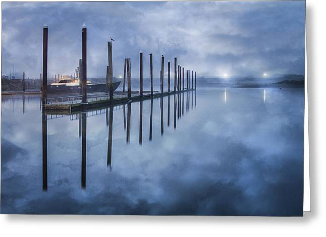 Wooden Ship Greeting Cards - Night Harbor Greeting Card by Debra and Dave Vanderlaan