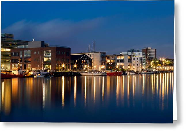 """timed Exposure"" Greeting Cards - Night Harbor Greeting Card by Gert Lavsen"
