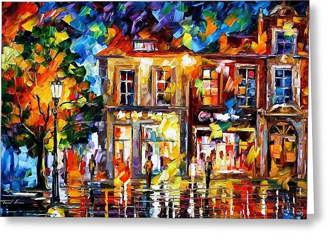 Popular Art Greeting Cards - Night Imagination - PALETTE KNIFE Oil Painting On Canvas By Leonid Afremov Greeting Card by Leonid Afremov