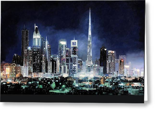 Green Light Greeting Cards - night in Dubai City Greeting Card by Guido Borelli