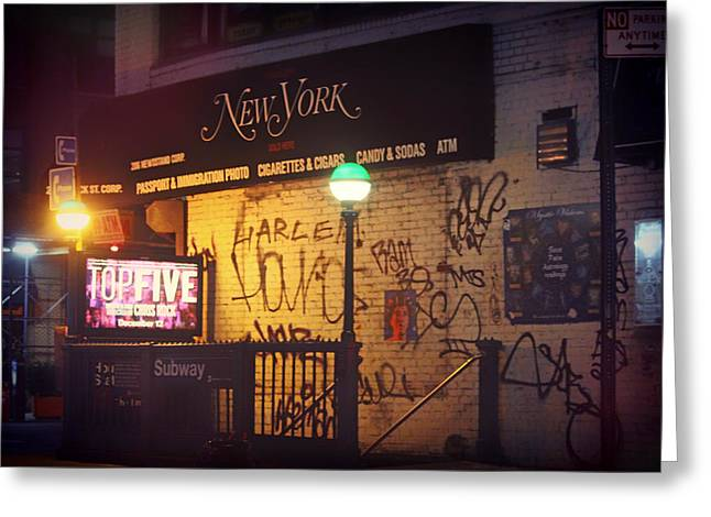 Graffiti Steps Greeting Cards - Night in Harlem Greeting Card by Chelsea Yarger