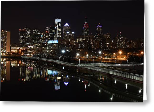 Schuylkill Greeting Cards - Night in Philly Greeting Card by Jennifer Lyon