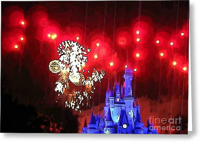 Amusements Greeting Cards - Night in the Magic Kingdom Greeting Card by John Malone
