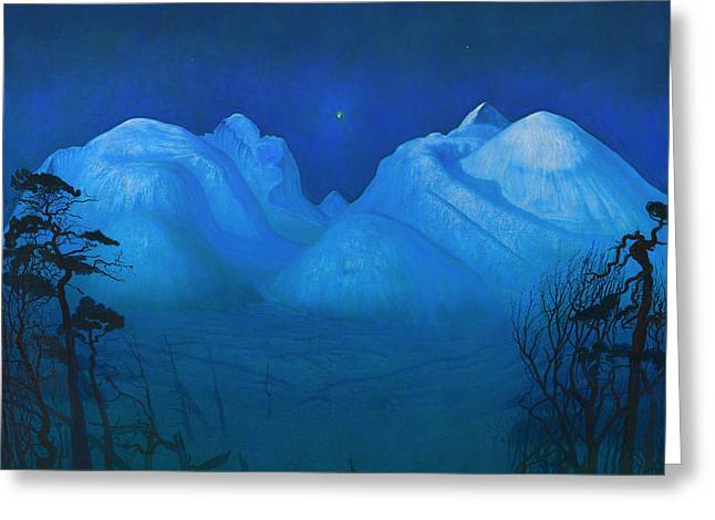 Snow-covered Landscape Greeting Cards - Night In The Mountains Greeting Card by Harald Sohlberg