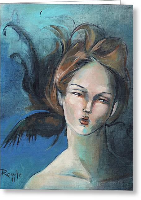 Blue Hair Greeting Cards - Night Greeting Card by Jacque Hudson