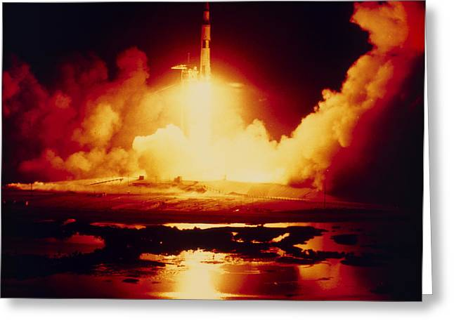 Apollo Program Greeting Cards - Night Launch Of Apollo 17 Greeting Card by Nasa