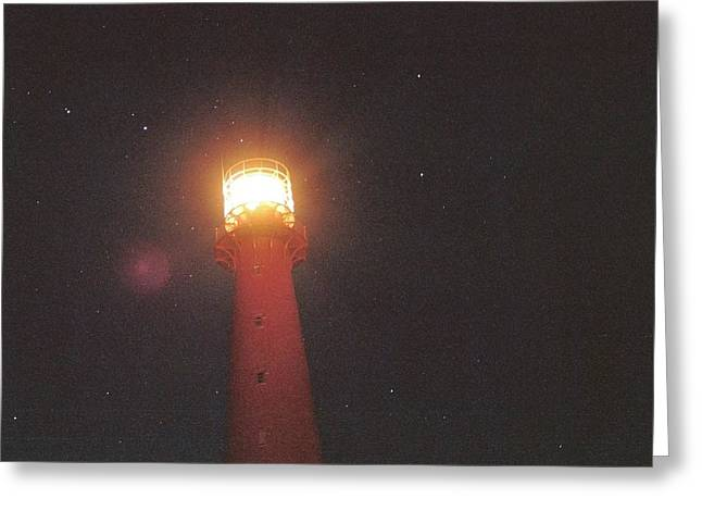 Norwegian Lighthouse Greeting Cards - Night Light Greeting Card by Gregory Barger