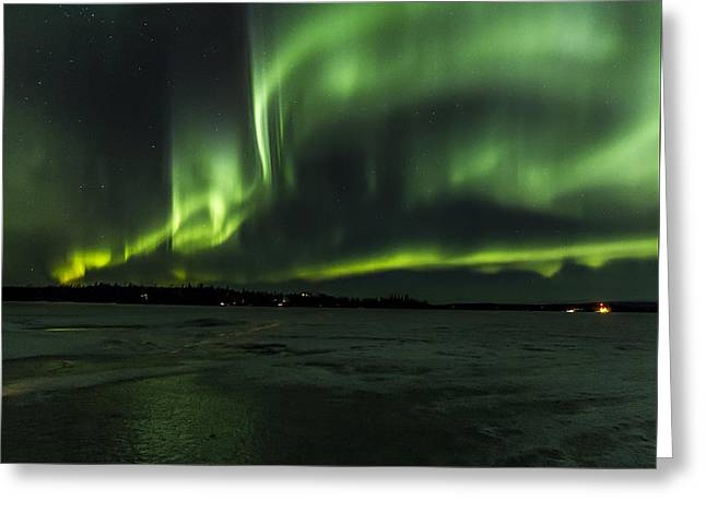 Northernlights Greeting Cards - Night Light Greeting Card by Kyle Lavey
