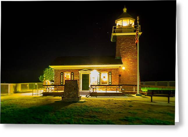 Steamer Lane Greeting Cards - Night Lighthouse Greeting Card by Steve Spiliotopoulos