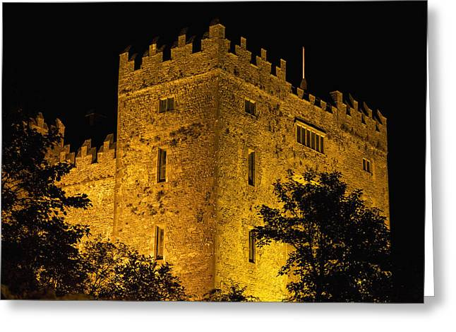 National Past Time Greeting Cards - Night Lights Illuminating Bunratty Greeting Card by Michael Interisano
