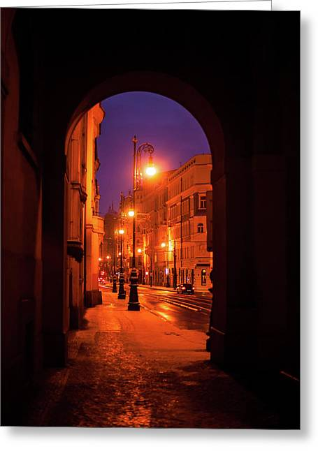 Night Lights In Street Of Old Prague  Greeting Card by Jenny Rainbow