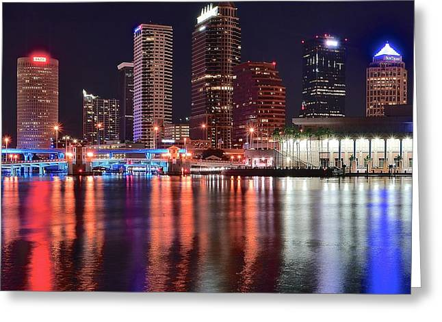 Convention Greeting Cards - Night Lights in Tampa Greeting Card by Frozen in Time Fine Art Photography